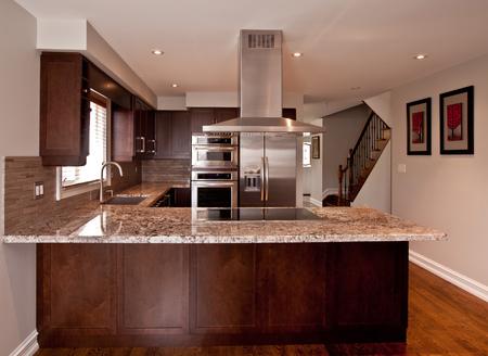 stainless steel kitchen: Kitchen interior with stainless steel appliances
