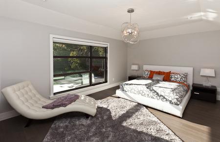 Master bedroom in new luxury house Stock Photo
