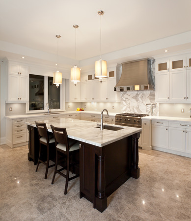 kitchen cabinets: Kitchen interior in new luxury house Stock Photo