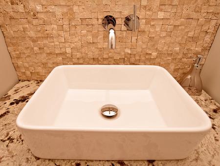 Closeup of rectangular bathroom sink