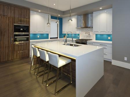 新しい豪華な家にモダンなキッチン