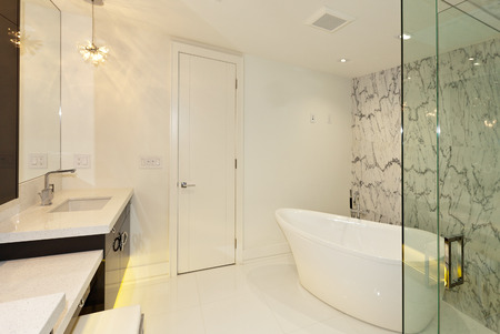 luxury house: Master bathroom in new luxury house Stock Photo