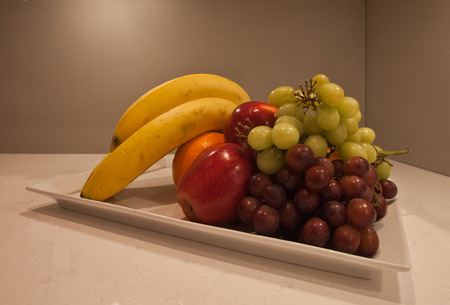 Fruit plate on a kitchen counter