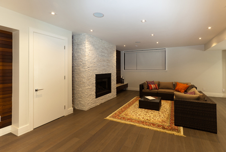 Living room area in new modern house Stock Photo