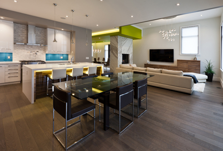 Dining area in new luxury house Stock Photo