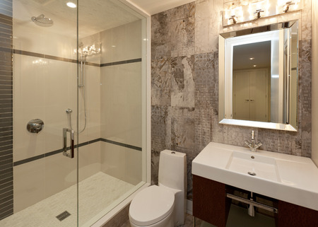 Modern bathroom in new luxury house Stock Photo