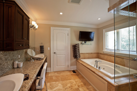 master: Master bathroom in a new luxury house Stock Photo