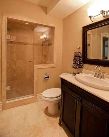 master bath: Master bathroom in a new luxury house Stock Photo