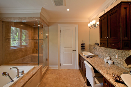 Master bathroom in a new luxury house Stock Photo