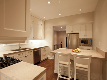 kitchen countertops: Modern kitchen with marble countertops