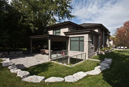 Sunlit backyard of a modern house