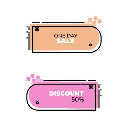 Set of flat modern banner, price tag, sticker, badge, poster, promotion ribbon, scroll in memphis design style. Modern abstract template vector illustration. Ilustração