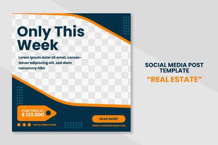 Modern real estate social media post template banner design. web banner promotion concept design