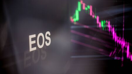 EOS Cryptocurrency token. crisis and the collapse of prices, the red graph down. The behavior of the cryptocurrency exchanges, concept. Modern financial technologies. Stock fotó