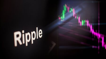 Ripple Cryptocurrency token. crisis and the collapse of prices, the red graph down. The behavior of the cryptocurrency exchanges, concept. Modern financial technologies.