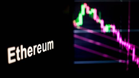Ethereum Cryptocurrency token. crisis and the collapse of prices, the red graph down. The behavior of the cryptocurrency exchanges, concept. Modern financial technologies. Stock fotó