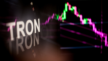 TRON Cryptocurrency token. crisis and the collapse of prices, the red graph down. The behavior of the cryptocurrency exchanges, concept. Modern financial technologies. Stock fotó