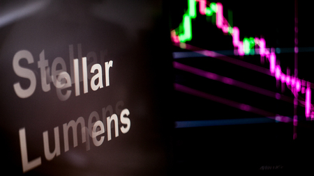 Stellar Lumens Cryptocurrency token. crisis and the collapse of prices, the red graph down. The behavior of the cryptocurrency exchanges, concept. Modern financial technologies.