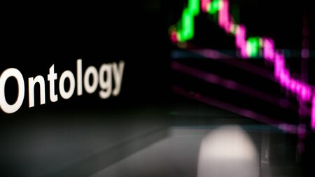 Ontology Cryptocurrency token. crisis and the collapse of prices, the red graph down. The behavior of the cryptocurrency exchanges, concept. Modern financial technologies. Stock fotó