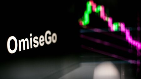 OmiseGo Cryptocurrency token. crisis and the collapse of prices, the red graph down. The behavior of the cryptocurrency exchanges, concept. Modern financial technologies. Stock fotó
