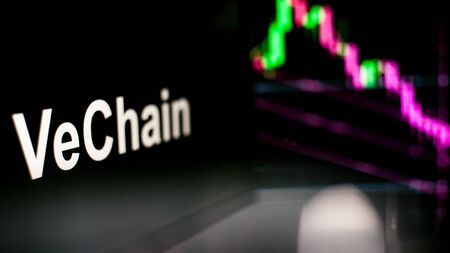 VeChain Cryptocurrency token. crisis and the collapse of prices, the red graph down. The behavior of the cryptocurrency exchanges, concept. Modern financial technologies. Stock fotó