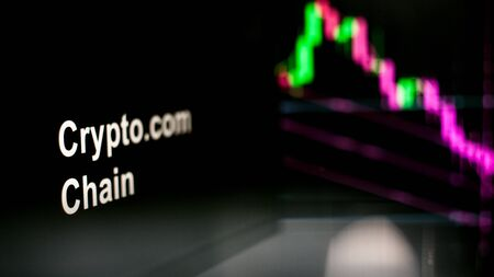 Cryptocurrency token. crisis and the collapse of prices, the red graph down. The behavior of the cryptocurrency exchanges, concept. Modern financial technologies.
