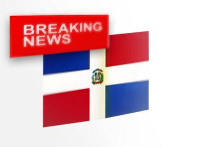 Eilmeldungen, die Landesflagge der Dominikanischen Republik und die Inschriftnachrichten, Konzept für Newsfeeds über das Land Dominikanische Republik