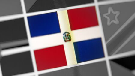 Dominican Republic national flag of country. Dominican Republic flag on the display, a digital moire effect. News of geography and geopolitics