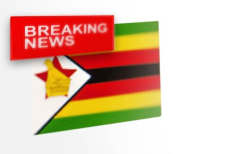 Breaking news, Zimbabwe country's flag and the inscription news, concept for news feeds about the country Zimbabwe