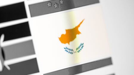 Cyprus national flag of country. Cyprus flag on the display, a digital moire effect. News of geography and geopolitics