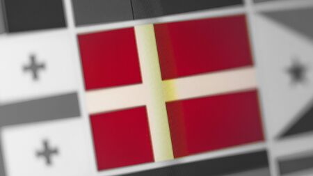 Denmark national flag of country. Denmark flag on the display, a digital moire effect. News of geography and geopolitics