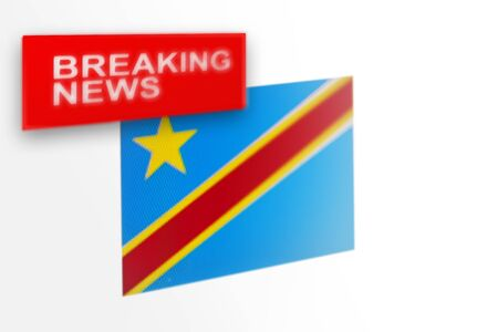 Breaking news, Democratic Republic of the Congo country's flag and the inscription news, concept for news feeds about the country Democratic Republic of the Congo