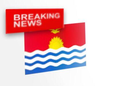 Eilmeldungen, die Flagge des Landes Kiribati und die Inschriftnachrichten, Konzept für Nachrichtenfeeds über das Land Kiribati Standard-Bild