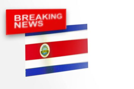 Breaking news, Costa Rica country's flag and the inscription news, concept for news feeds about the country Costa Rica Imagens