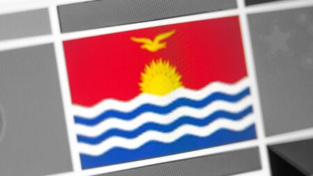 Kiribati national flag of country. Kiribati flag on the display, a digital moire effect. News of geography and geopolitics