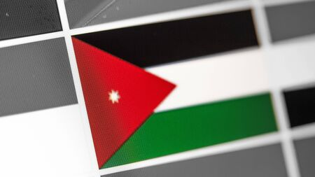 Jordan national flag of country. Jordan flag on the display, a digital moire effect. News of geography and geopolitics