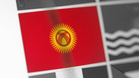 Kirgisistan Nationalflagge des Landes. Kirgisistan-Flagge auf dem Display, ein digitaler Moiré-Effekt. Nachrichten aus Geographie und Geopolitik