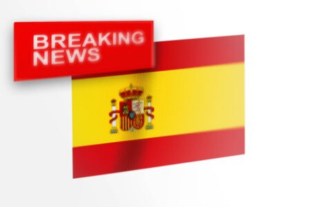 Breaking news, Spain country's flag and the inscription news, concept for news feeds about the country Spain