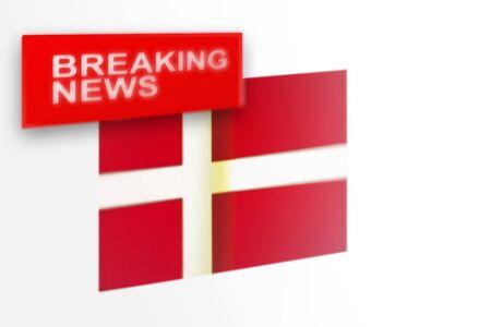 Eilmeldungen, die Flagge des Landes Dänemark und die Inschriftnachrichten, Konzept für Nachrichtenfeeds über das Land Dänemark