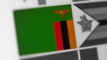 Zambia national flag of country. Zambia flag on the display, a digital moire effect. News of geography and geopolitics