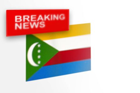 Breaking news, Comoros country's flag and the inscription news, concept for news feeds about the country Comoros Stock fotó