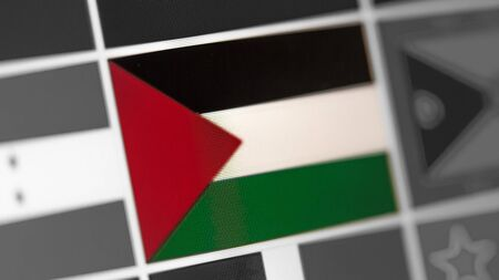 State of Palestine national flag of country.State of Palestine flag on the display, a digital moire effect. News of geography and geopolitics