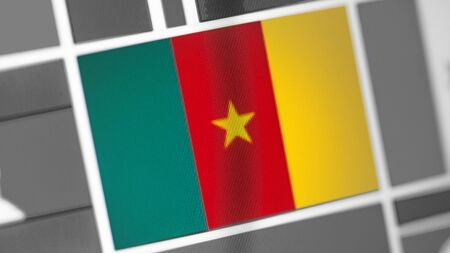 Cameroon national flag of country. Cameroon flag on the display, a digital moire effect. News of geography and geopolitics