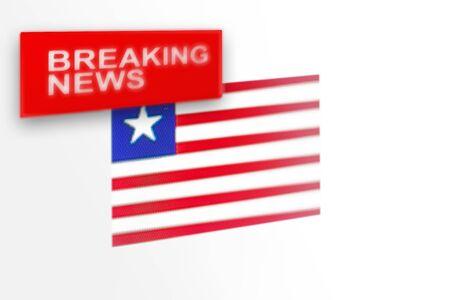 Eilmeldungen, die Flagge des Landes Liberia und die Inschriftnachrichten, Konzept für Nachrichtenfeeds über das Land Liberia Standard-Bild
