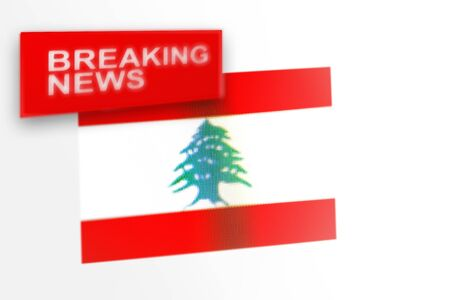 Breaking news, Lebanon country's flag and the inscription news, concept for news feeds about the country Lebanon