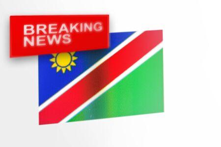 Breaking News, Namibia-Landesflagge und die Aufschrift Nachrichten, Konzept für Newsfeeds über das Land Namibia
