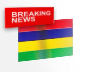 Eilmeldungen, die Flagge des Landes Mauritius und die Inschriftnachrichten, Konzept für Nachrichtenfeeds über das Land Mauritius Standard-Bild