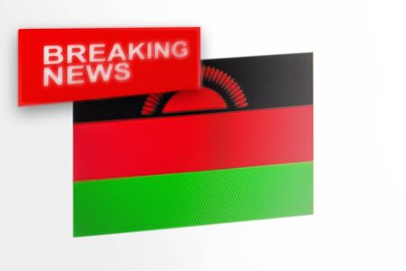 Breaking news, Malawi country's flag and the inscription news, concept for news feeds about the country Malawi