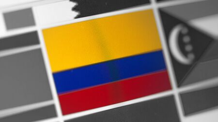 Colombia national flag of country. Colombia flag on the display, a digital moire effect. News of geography and geopolitics