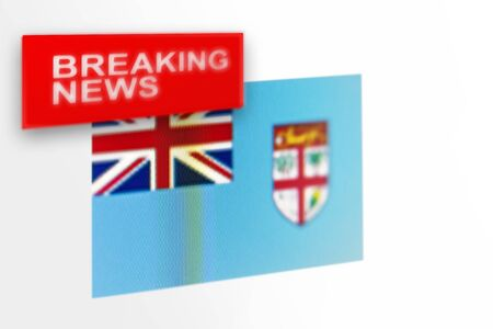Breaking news, Fiji country's flag and the inscription news, concept for news feeds about the country Fiji